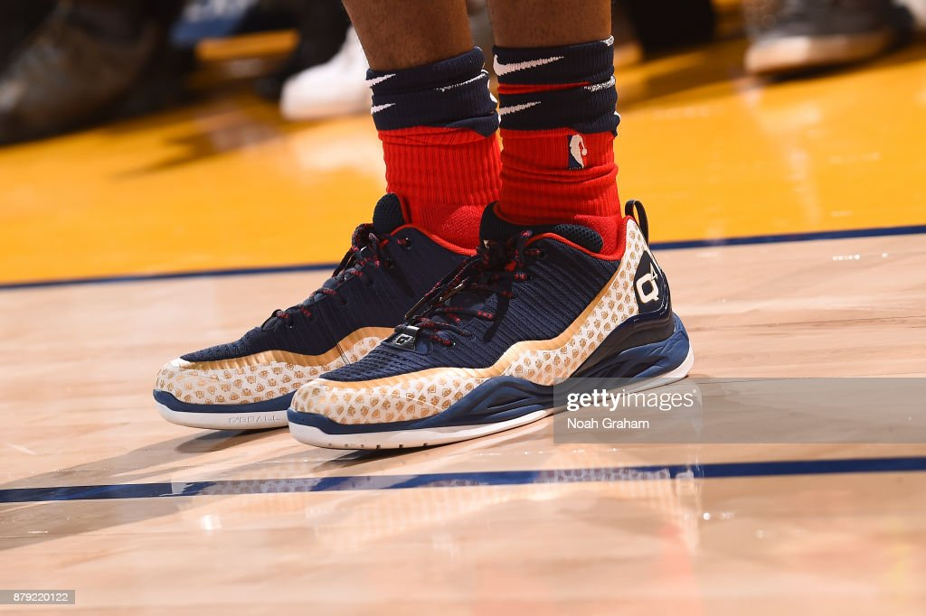The sneakers of E'Twaun Moore #55 of the New Orleans Pelicans are seen during the game against the Golden State Warriors on November 25, 2017 at ORACLE Arena in Oakland, California.