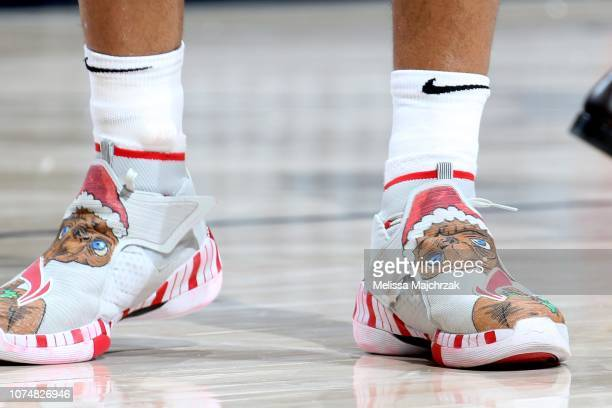 The sneakers of Evan Turner of the Portland Trail Blazers are worn during a game against the Utah Jazz on December 25 2018 at vivintSmartHome Arena...