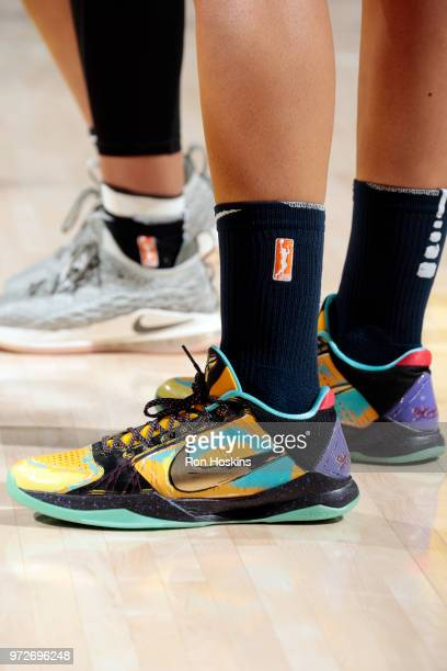 The sneakers of forward Candice Dupree of the Indiana Fever as seen during the game against the Las Vegas Aces on June 12 2018 at Bankers Life...