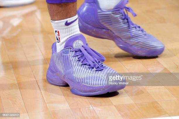 The sneakers of Frank Mason III of the Sacramento Kings during the game against the Memphis Grizzlies on December 31 2017 at Golden 1 Center in...