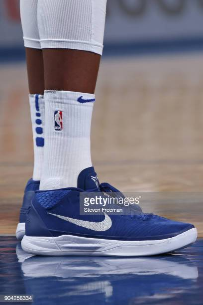 The sneakers of Frank Ntilikina of the New York Knicks during the game against the Chicago Bulls on January 10 2018 at Madison Square Garden in New...