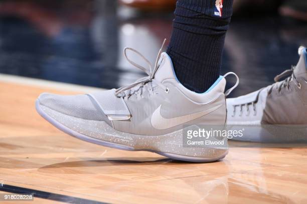The sneakers of Gary Harris of the Denver Nuggets during the game against the San Antonio Spurs on February 13 2018 at the Pepsi Center in Denver...