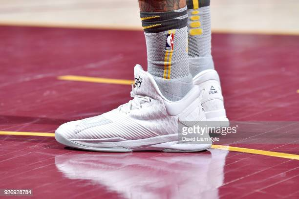 The sneakers of George Hill of the Cleveland Cavaliers are seen during the game against the Denver Nuggets on March 3 2018 at Quicken Loans Arena in...