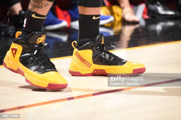 The sneakers of George Hill of the Cleveland Cavaliers are seen during the game against the Golden State Warriors during Game Three of the 2018 NBA...