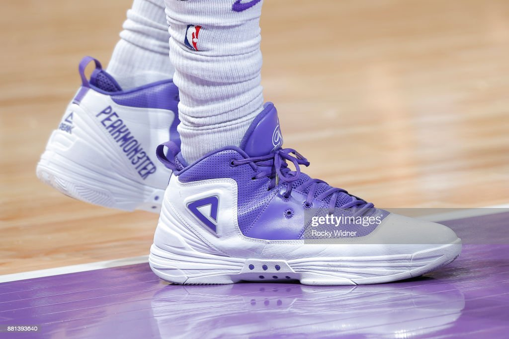 The sneakers of George Hill #3 of the Sacramento Kings are seen during the game against the Milwaukee Bucks on November 28, 2017 at Golden 1 Center in Sacramento, California.
