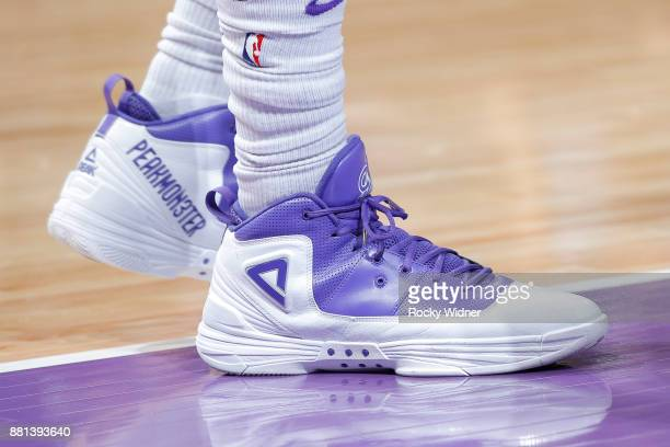 The sneakers of George Hill of the Sacramento Kings are seen during the game against the Milwaukee Bucks on November 28 2017 at Golden 1 Center in...