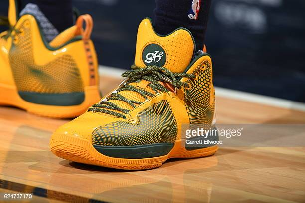 The sneakers of George Hill of the Utah Jazz are seen before the game against the Denver Nuggets on November 20 2016 at the Pepsi Center in Denver...