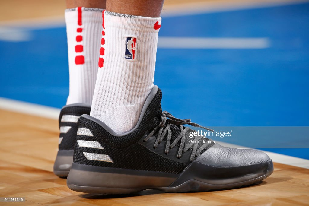 The sneakers of Gerald Green #14 of the Houston Rockets during the game against the Dallas Mavericks on January 24, 2018 at the American Airlines Center in Dallas, Texas.