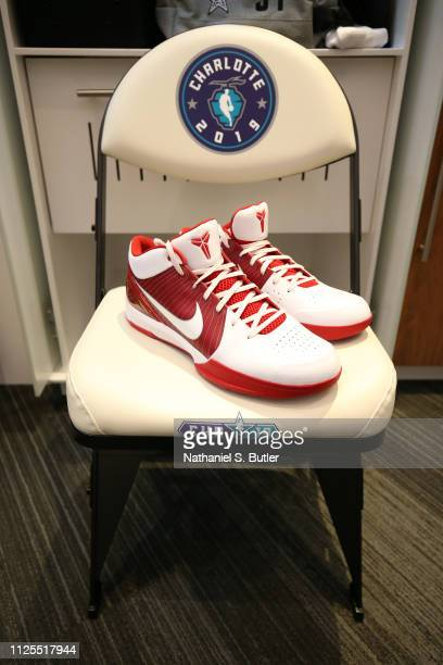 The sneakers of Giannis Antetokounmpo of Team Giannis are photographed prior to the 2019 NBA AllStar Game on February 17 2019 at the Spectrum Center...