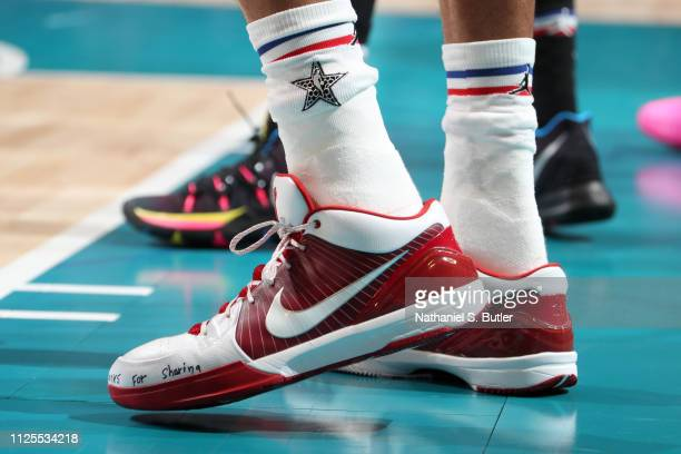The sneakers of Giannis Antetokounmpo of Team Giannis are worn during the 2019 NBA AllStar Game on February 17 2019 at the Spectrum Center in...
