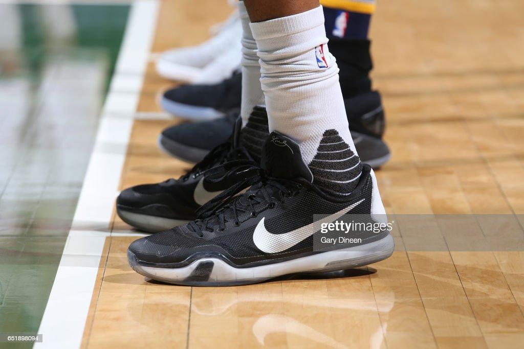 5de0e47eb The sneakers of Giannis Antetokounmpo of the Milwaukee Bucks during ...