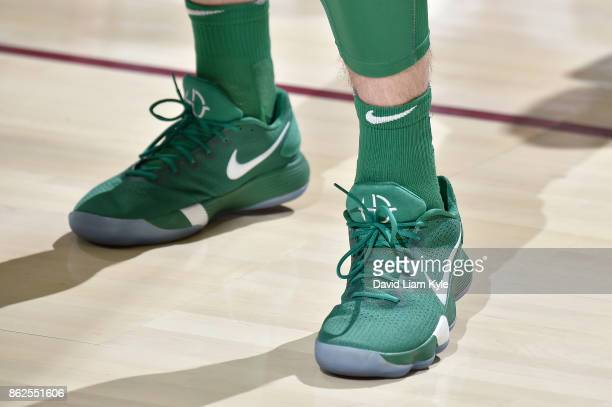 The sneakers of Gordon Hayward of the Boston Celtics are seen before the game against the Cleveland Cavaliers on October 17 2017 at Quicken Loans...