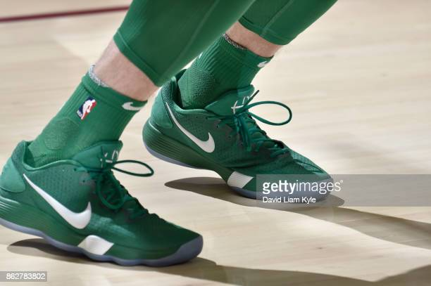 The sneakers of Gordon Hayward of the Boston Celtics before the game against the Cleveland Cavaliers on October 17 2017 at Quicken Loans Arena in...