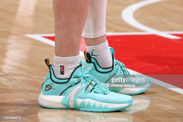 The sneakers of Gordon Hayward of the Charlotte Hornets against the Washington Wizards on March 30, 2021 at Capital One Arena in Washington, DC. NOTE...