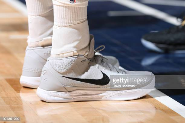 The sneakers of Gorgui Dieng of the Minnesota Timberwolves are seen during the game against the New York Knicks on January 12 2018 at Target Center...