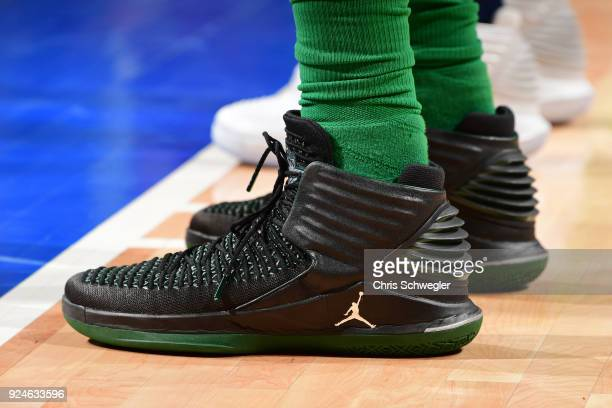 The sneakers of Greg Monroe of the Boston Celtics during the game against the Detroit Pistons on February 23 2018 at Little Caesars Arena in Detroit...