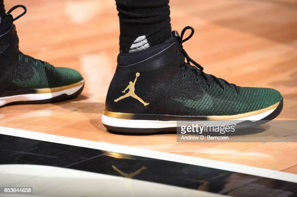 The sneakers of Greg Monroe of the Milwaukee Bucks are seen against the LA Clippers on March 15 2017 at STAPLES Center in Los Angeles California NOTE...