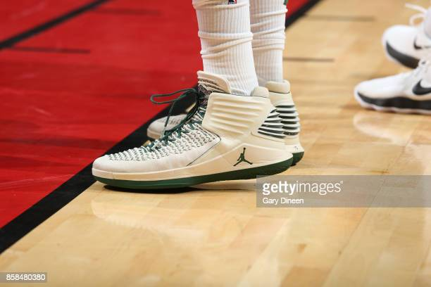 The sneakers of Greg Monroe of the Milwaukee Bucks are seen during the preseason game against the Chicago Bulls on October 6 2017 at the United...