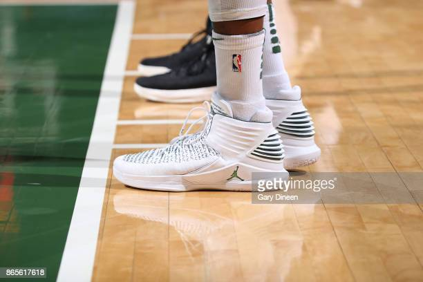 The sneakers of Greg Monroe of the Milwaukee Bucks are seen during the game against the Charlotte Hornets on October 23 2017 at the BMO Harris...