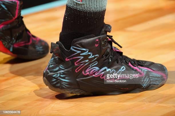 f290d397235e The sneakers of Hassan Whiteside of the Miami Heat during the game against  the Los Angeles
