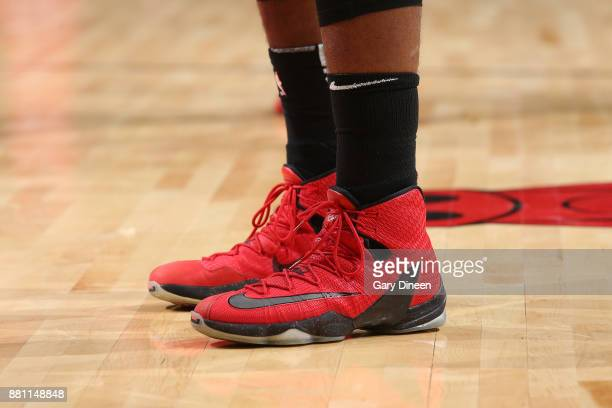 The sneakers of Hassan Whiteside of the Miami Heat during the game against the Chicago Bulls on November 26 2017 at the United Center in Chicago...