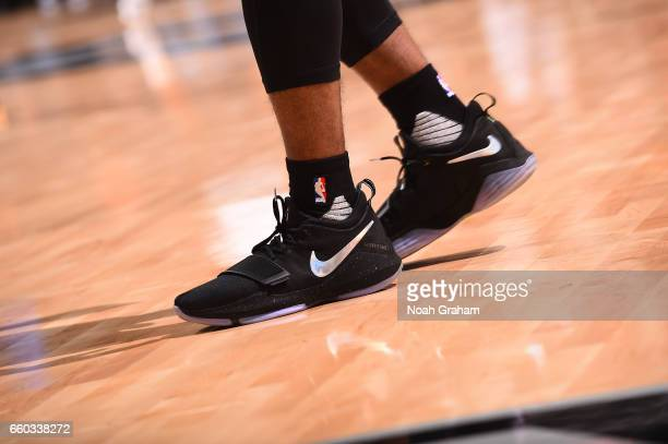 The sneakers of Ian Clark of the Golden State Warriors are seen before the game against the San Antonio Spurs on March 29 2017 at ATT Center in San...