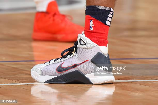 The sneakers of Ian Clark of the New Orleans Pelicans are seen during the game against the LA Clippers on April 9 2018 at STAPLES Center in Los...