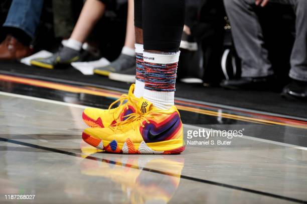 The sneakers of Iman Shumpert of the Brooklyn Nets during a game against the Denver Nuggets on December 8 2019 at Barclays Center in Brooklyn New...