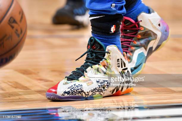 The sneakers of Isaiah Briscoe of the Orlando Magic are seen before the first quarter against the Golden State Warriors on February 28 2019 at Amway...