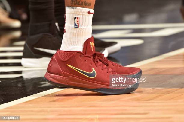 The sneakers of Isaiah Thomas of the Cleveland Cavaliers are seen during the game against the Orlando Magic on January 6 2018 at Amway Center in...