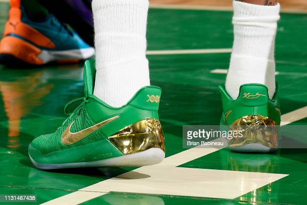 The sneakers of Isaiah Thomas of the Denver Nuggets are seen against the Boston Celtics on March 18 2019 at the TD Garden in Boston Massachusetts...