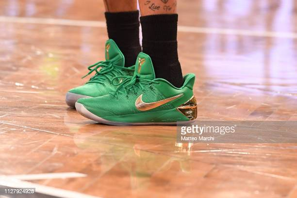 c01d8bbb23c1 The sneakers of Isaiah Thomas of the Denver Nuggets before the game against  the Brooklyn Nets