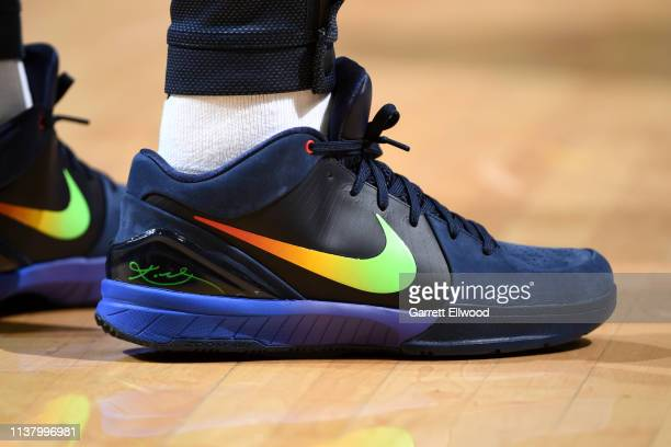 The sneakers of Isaiah Thomas of the Denver Nuggets during Game Three of Round One of the 2019 NBA Playoffs against the San Antonio Spurs on April 18...