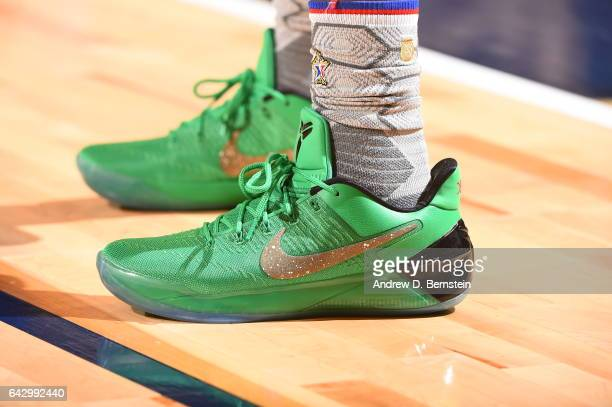 The sneakers of Isaiah Thomas of the Eastern Conference AllStar Team during the NBA AllStar Game as part of the 2017 NBA All Star Weekend on February...