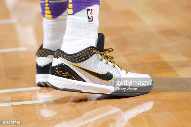 The sneakers of Isaiah Thomas of the Los Angeles Lakers are seen during the game against the Sacramento Kings on February 24 2018 at Golden 1 Center...