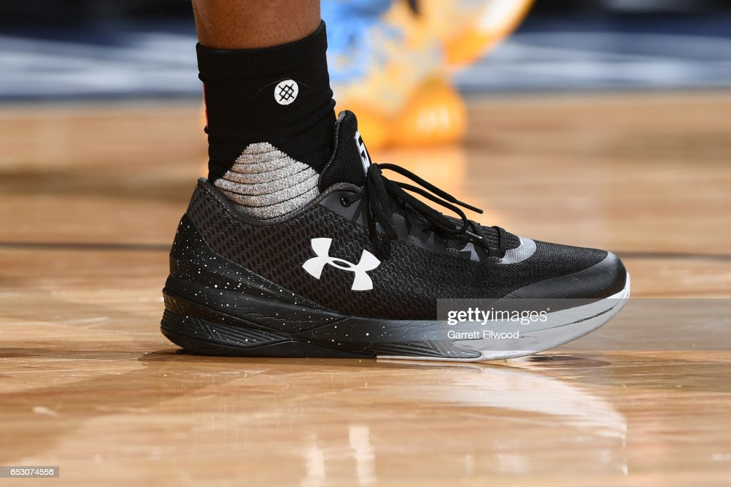 The sneakers of Isaiah Whitehead #15 of the Brooklyn Nets are seen during the game against the Denver Nuggets on February 24, 2017 at the Pepsi Center in Denver, Colorado.
