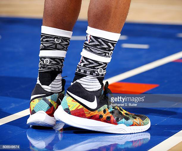 The sneakers of Ish Smith of the Philadelphia 76ers during the game against the New York Knicks on January 18 2016 at Madison Square Garden in New...