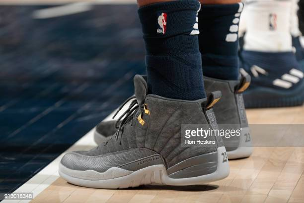 The sneakers of Ivan Rabb of the Memphis Grizzlies during the game against the Indiana Pacers on January 31 2018 at Bankers Life Fieldhouse in...