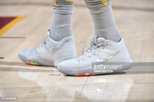 The sneakers of Jae Crowder of the Cleveland Cavaliers are seen during the game against the Minnesota Timberwolves on February 7 2018 at Quicken...