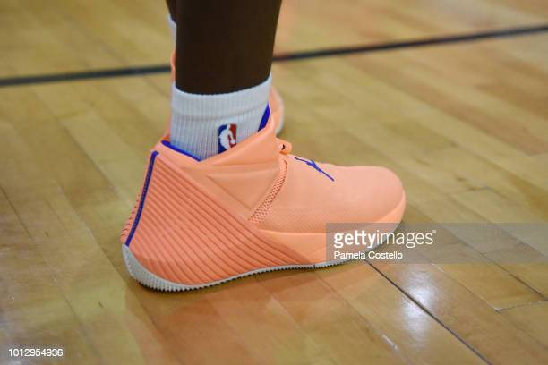 The sneakers of Jahliel Smart of the Canada Boys are seen during the game against the China Boys during the Jr NBA World Championship on August 7...