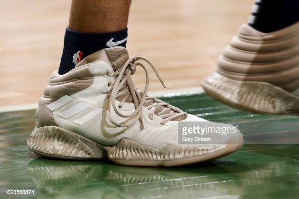 the sneakers of Jamal Murray of the Denver Nuggets are seen against the Milwaukee Bucks on November 19 2018 at the BMO Harris Bradley Center in...