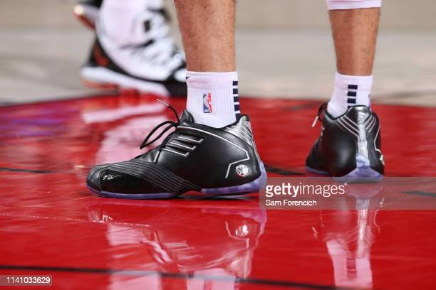 The sneakers of Jamal Murray of the Denver Nuggets are seen against the Portland Trail Blazers during Game Three of the Western Conference SemiFinals...