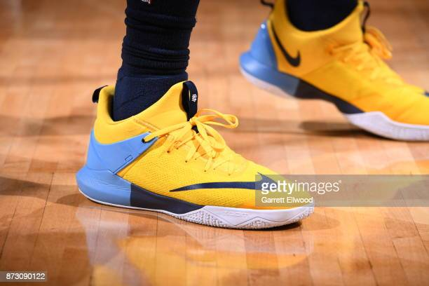 The sneakers of Jamal Murray of the Denver Nuggets are seen during the game against the Orlando Magic on November 11 2017 at the Pepsi Center in...