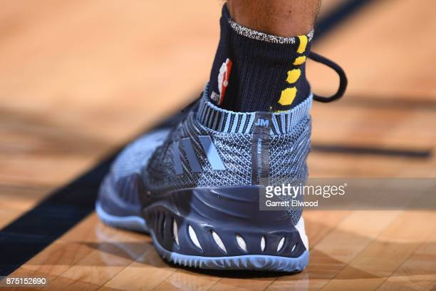The sneakers of Jamal Murray of the Denver Nuggets are seen during the game against the Miami Heat on November 3 2017 at the Pepsi Center in Denver...