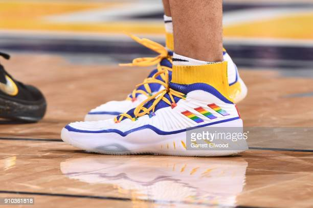 The sneakers of Jamal Murray of the Denver Nuggets are seen during the game against the New York Knicks on January 25 2018 at the Pepsi Center in...