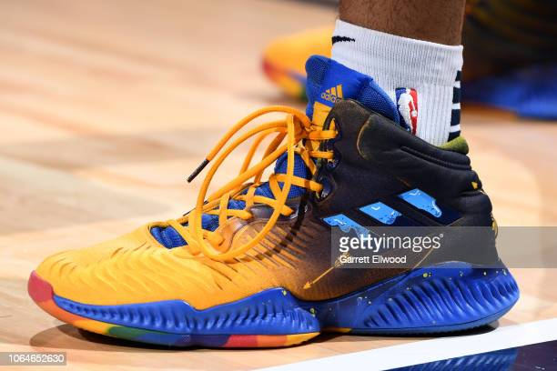 The sneakers of Jamal Murray of the Denver Nuggets are worn during a game against the Orlando Magic on November 23 2018 at the Pepsi Center in Denver...