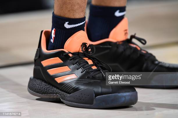 The sneakers of Jamal Murray of the Denver Nuggets are worn during a game against the Portland Trail Blazers during Game Four of the Western...