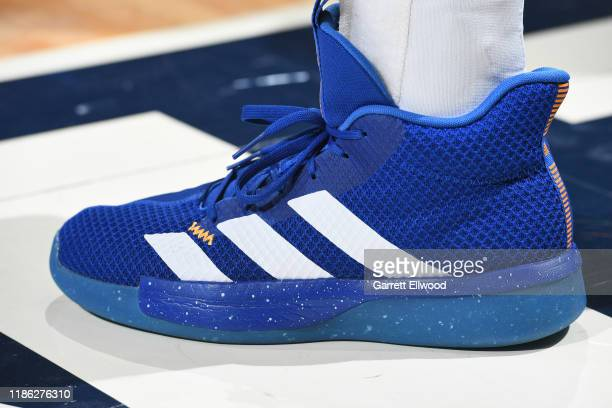 The sneakers of Jamal Murray of the Denver Nuggets are worn during a game against the Boston Celtics on November 22 2019 at the Pepsi Center in...