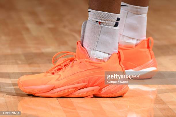 The sneakers of Jamal Murray of the Denver Nuggets are worn during a game against the Portland Trail Blazers on February 4 2020 at the Pepsi Center...