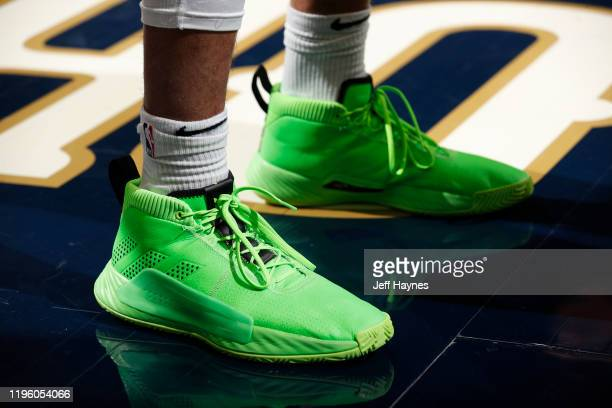 The sneakers of Jamal Murray of the Denver Nuggets are worn prior to a game on January 24 2020 at Smoothie King Center in New Orleans Louisiana NOTE...